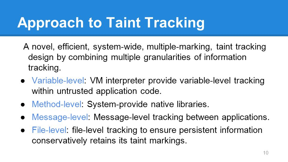Approach to Taint Tracking