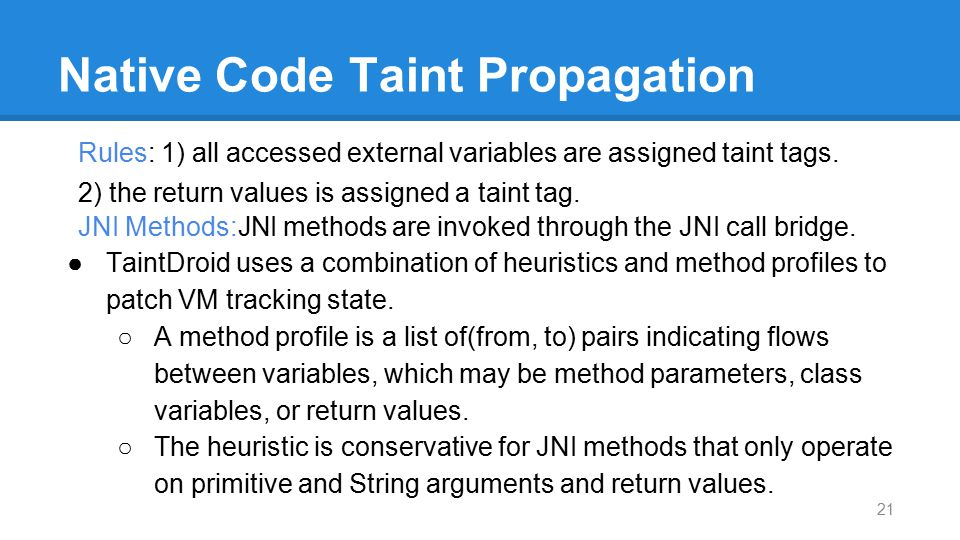 Native Code Taint Propagation