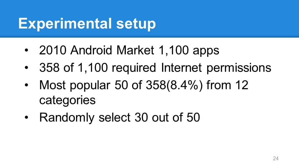 Experimental setup 2010 Android Market 1,100 apps