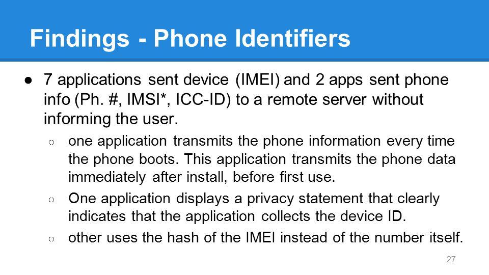 Findings - Phone Identifiers