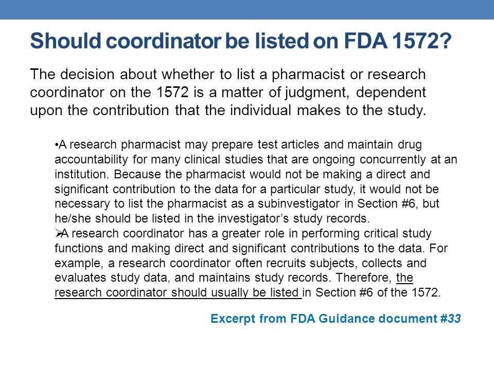 Should coordinator be listed on FDA 1572