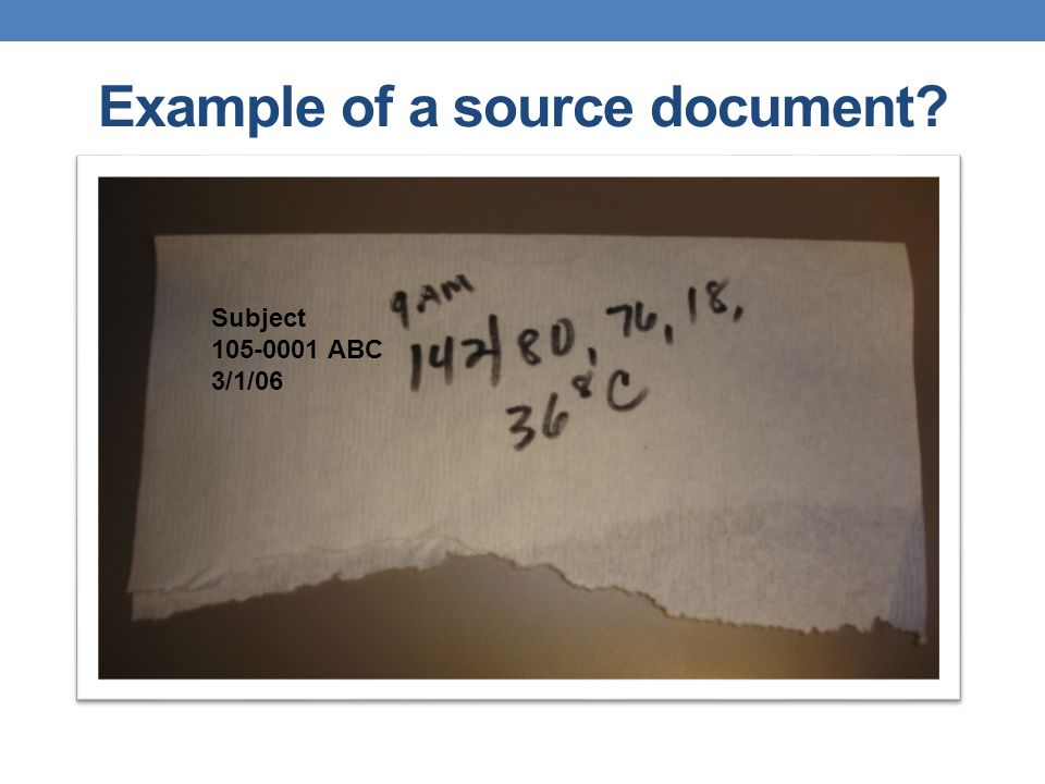 Example of a source document