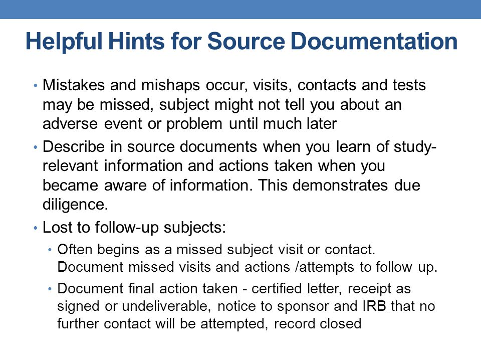Helpful Hints for Source Documentation