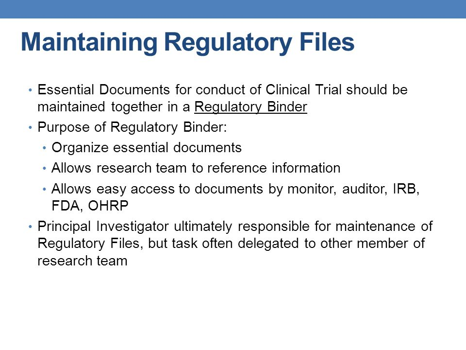 Maintaining Regulatory Files