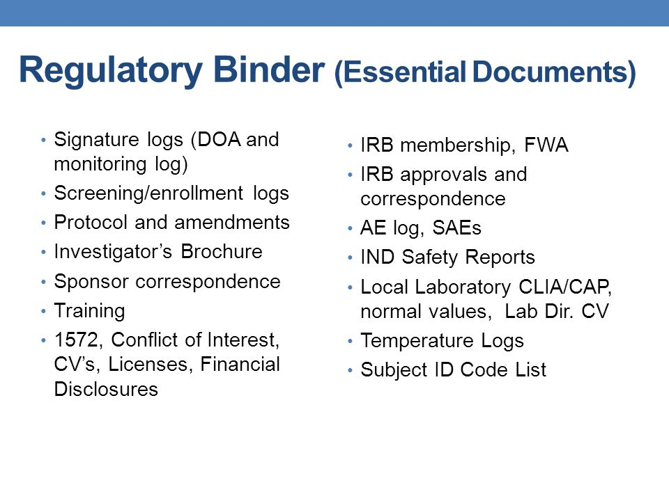 Regulatory Binder (Essential Documents)