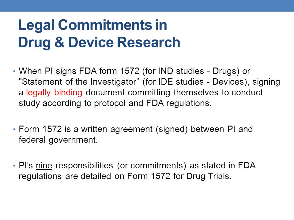 Legal Commitments in Drug & Device Research