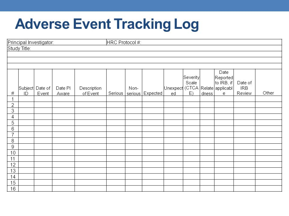 Adverse Event Tracking Log