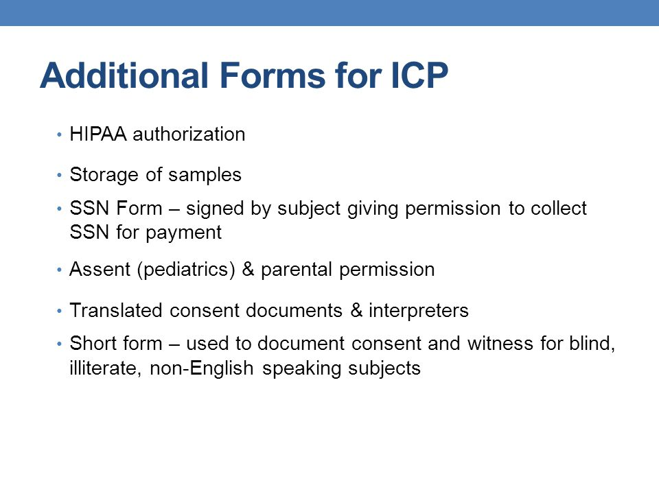 Additional Forms for ICP