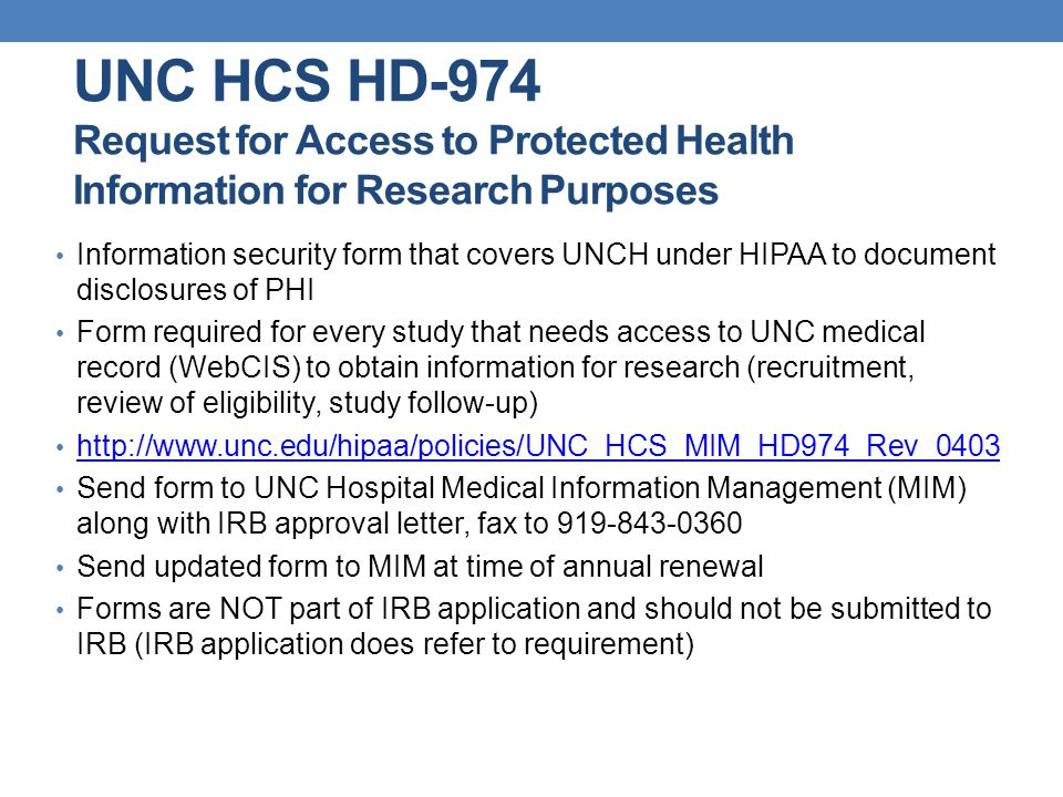 UNC HCS HD-974 Request for Access to Protected Health Information for Research Purposes