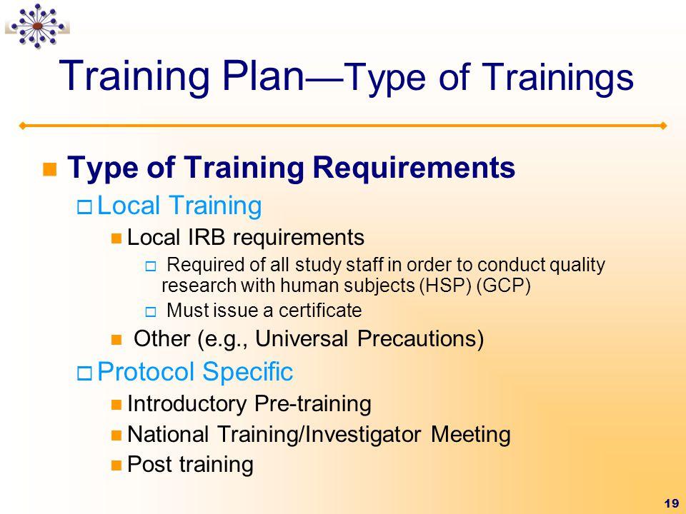 Training Plan—Type of Trainings