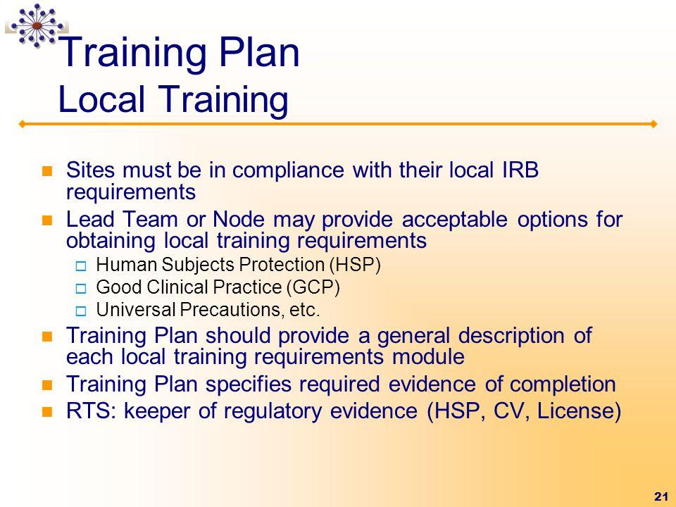 Training Plan Local Training