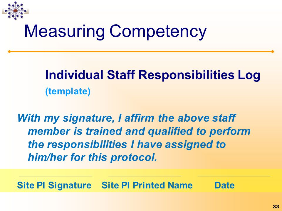 Measuring Competency Individual Staff Responsibilities Log (template)