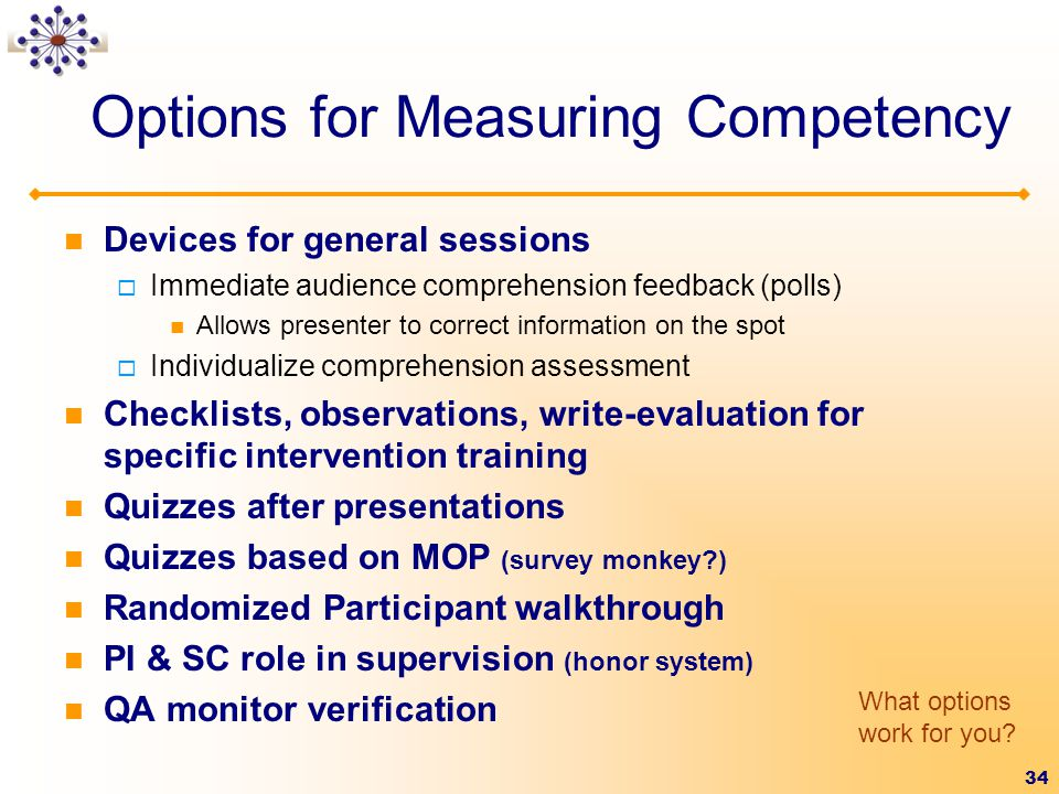 Options for Measuring Competency