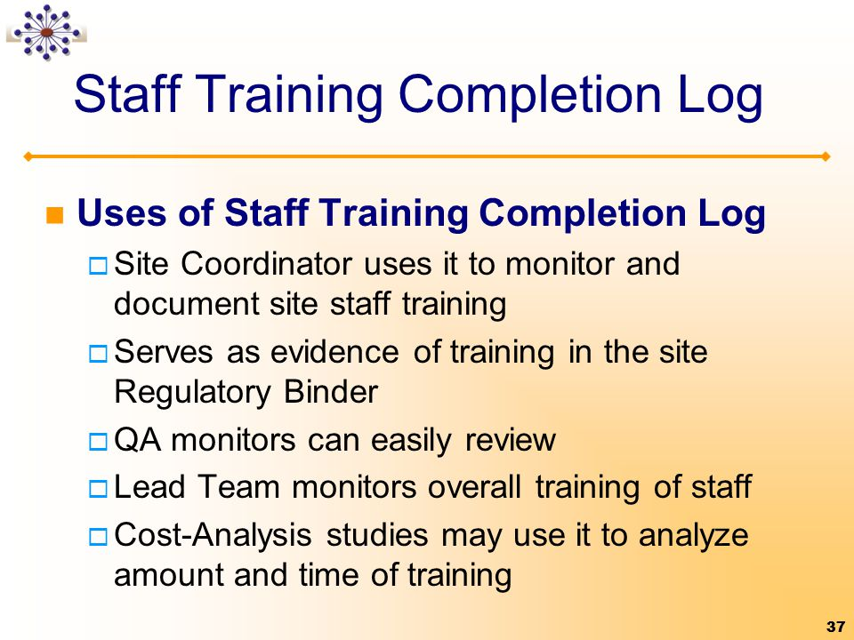 Staff Training Completion Log