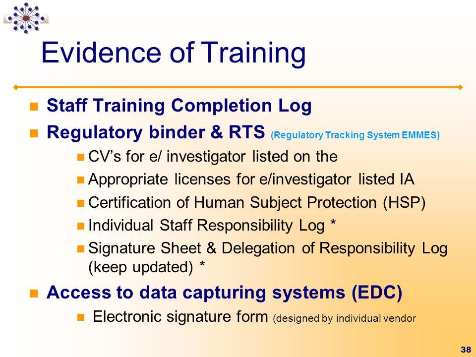 Evidence of Training Staff Training Completion Log