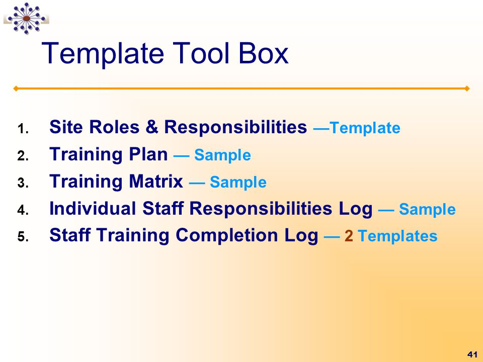 Template Tool Box Site Roles & Responsibilities —Template