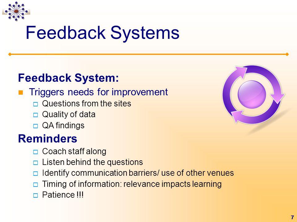 Feedback Systems Feedback System: Reminders