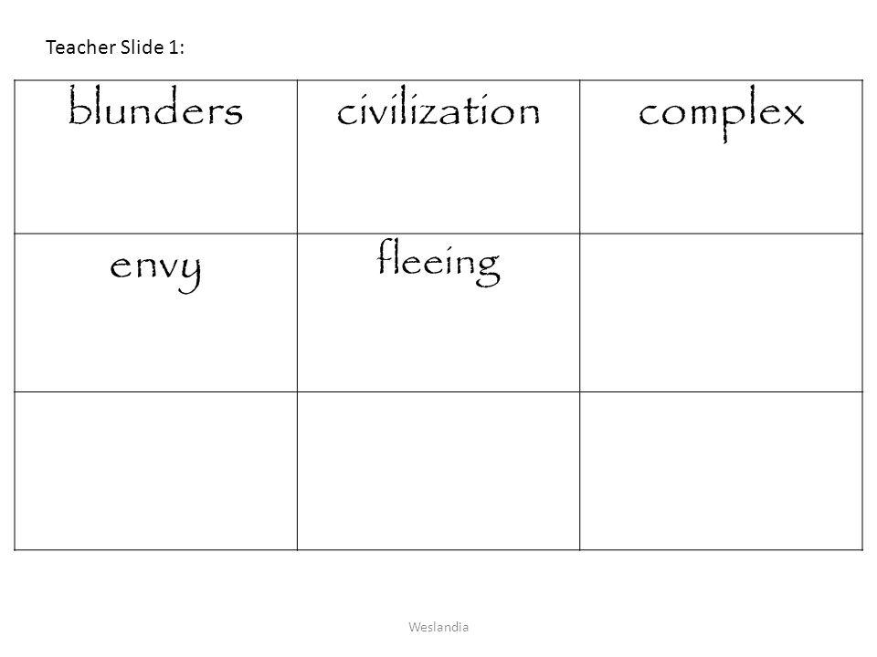 Teacher Slide 1: blunders civilization complex envy fleeing Weslandia