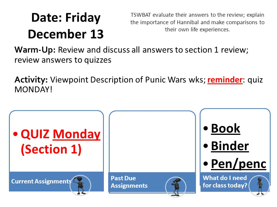 Date: Friday December 13 QUIZ Monday (Section 1) Book Binder