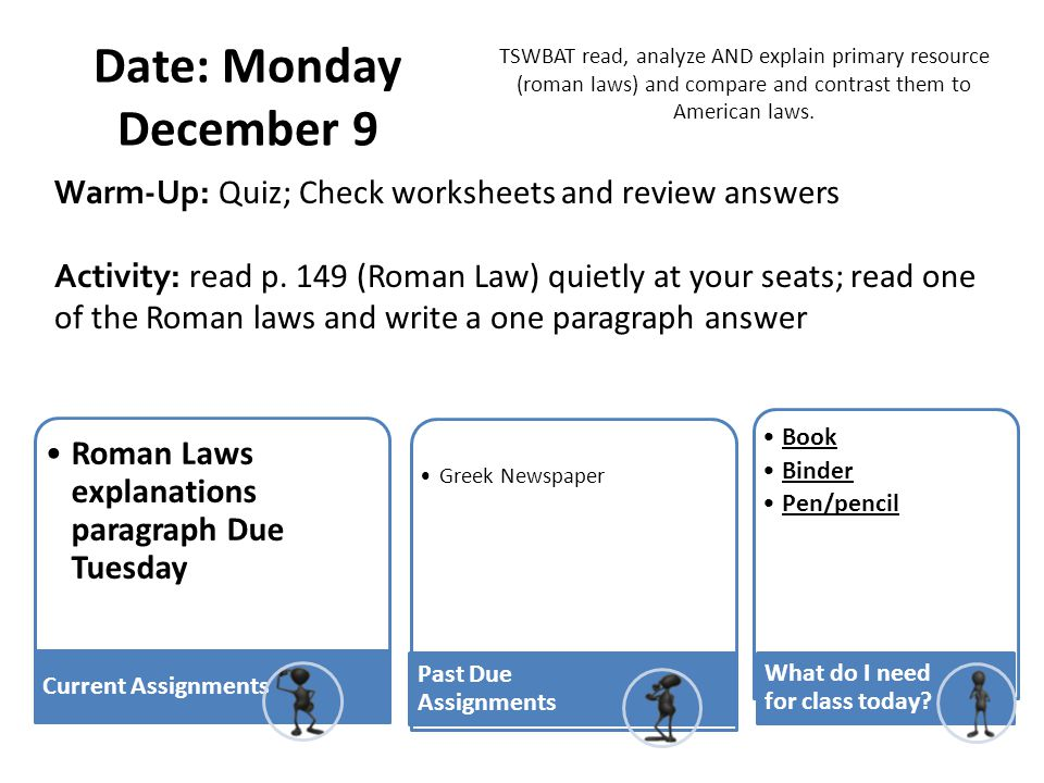 TSWBAT read, analyze AND explain primary resource (roman laws) and compare and contrast them to American laws.
