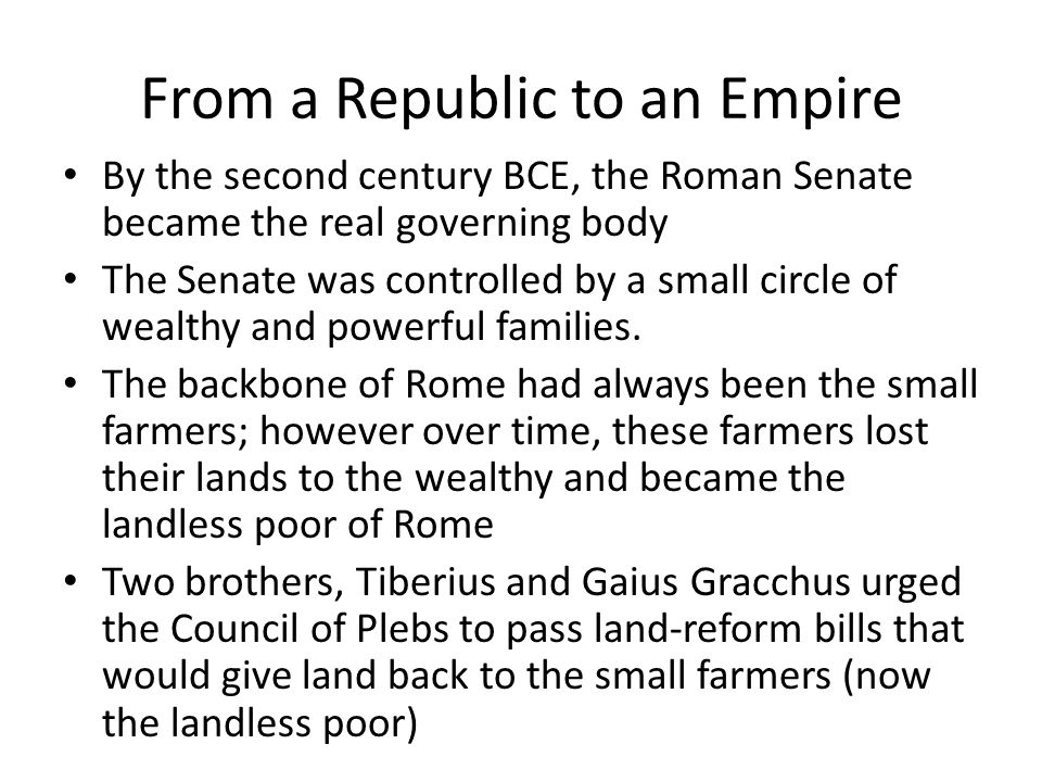 From a Republic to an Empire