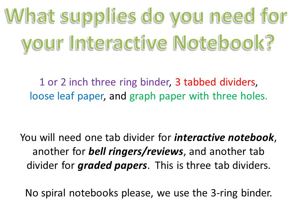 What supplies do you need for your Interactive Notebook