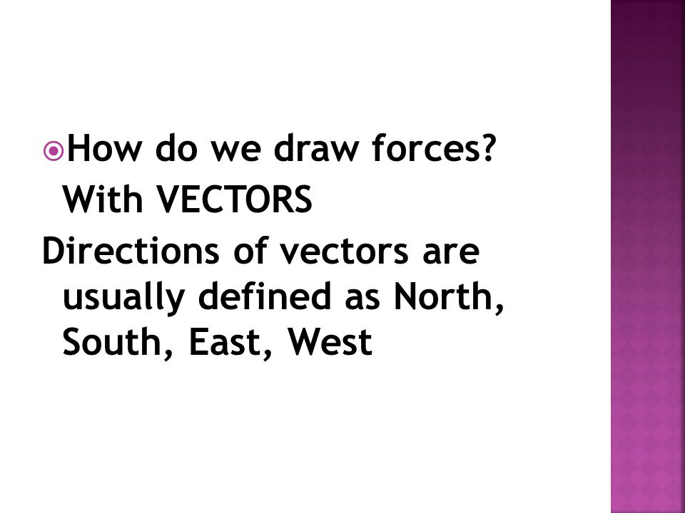 How do we draw forces. With VECTORS.