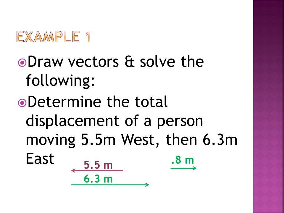 Draw vectors & solve the following: