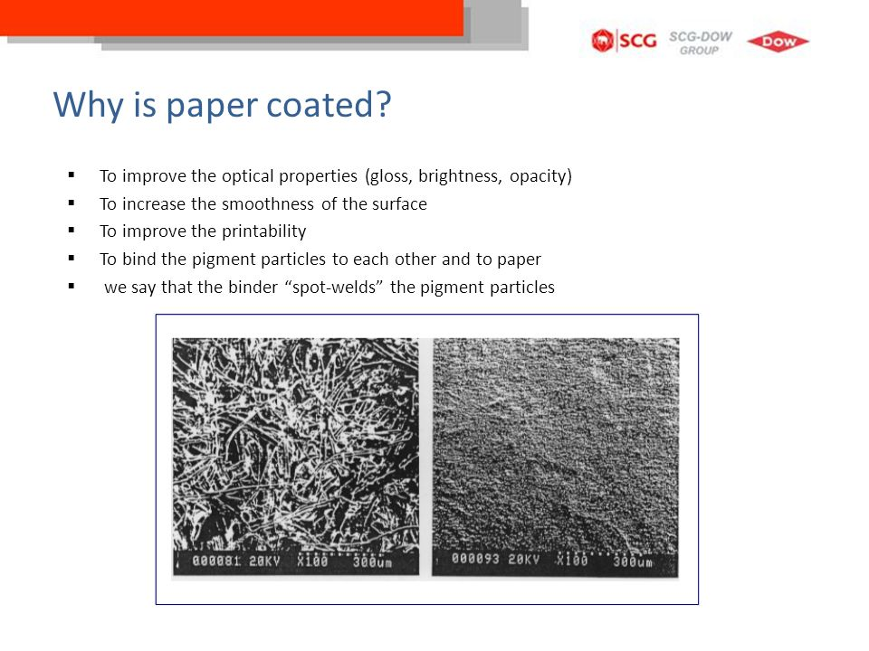 Why is paper coated To improve the optical properties (gloss, brightness, opacity) To increase the smoothness of the surface.