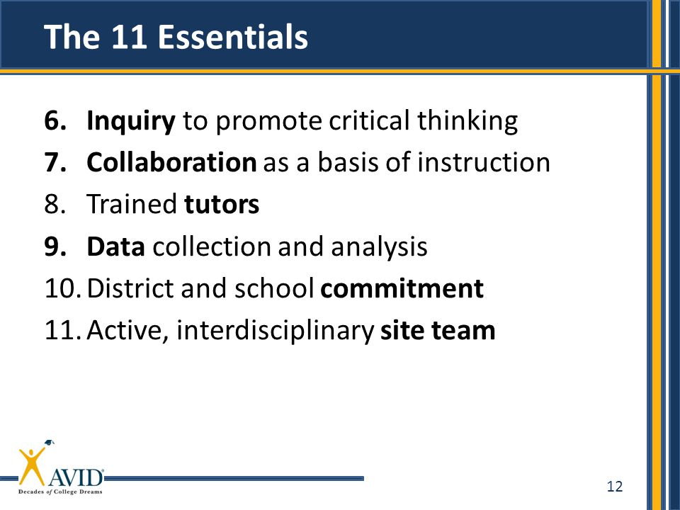 The 11 Essentials Inquiry to promote critical thinking