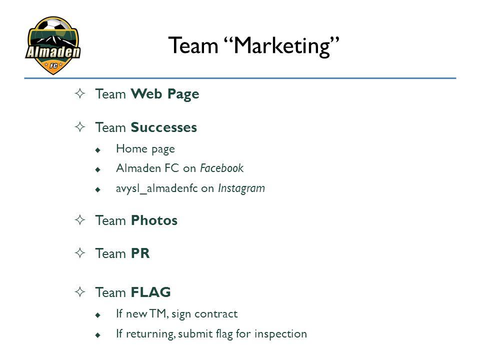 Team Marketing Team Web Page Team Successes Team Photos Team PR