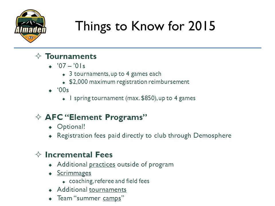 Things to Know for 2015 Tournaments AFC Element Programs