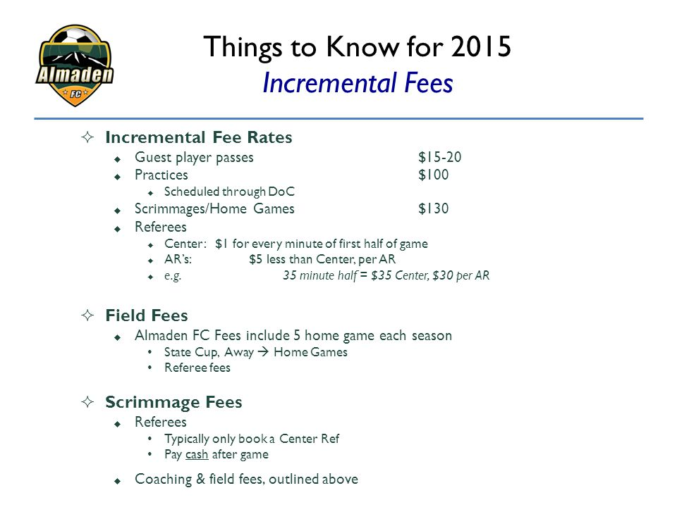 Things to Know for 2015 Incremental Fees