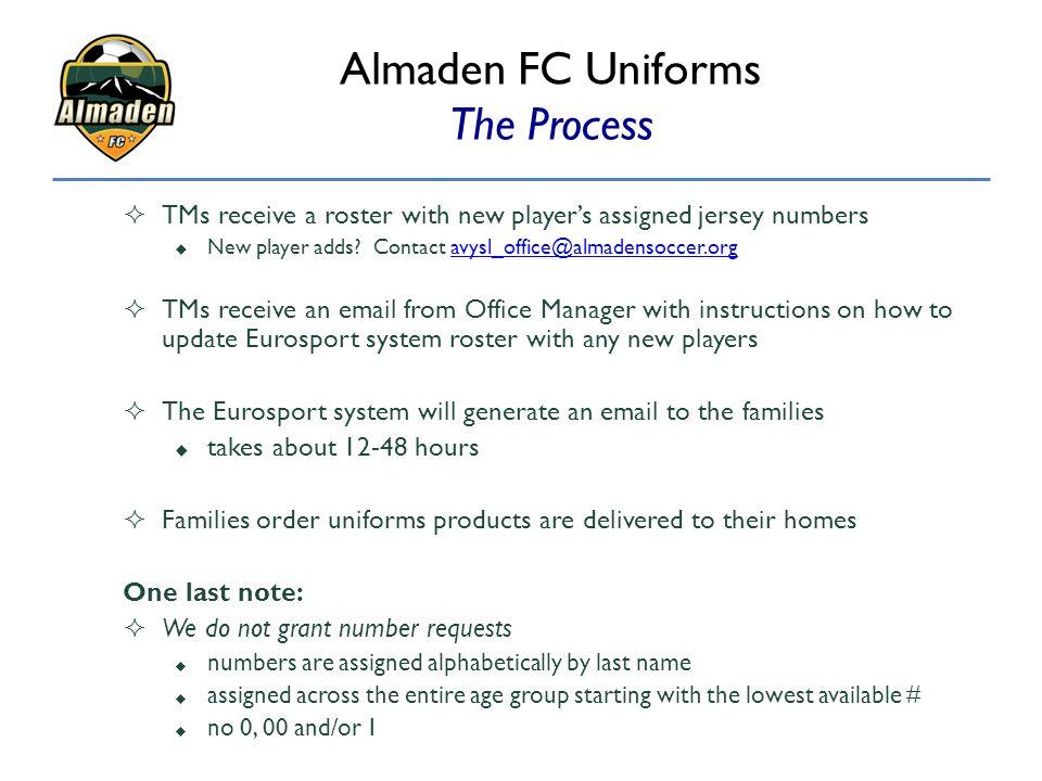 Almaden FC Uniforms The Process