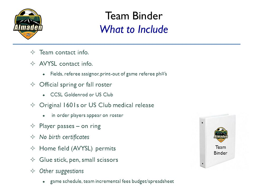 Team Binder What to Include