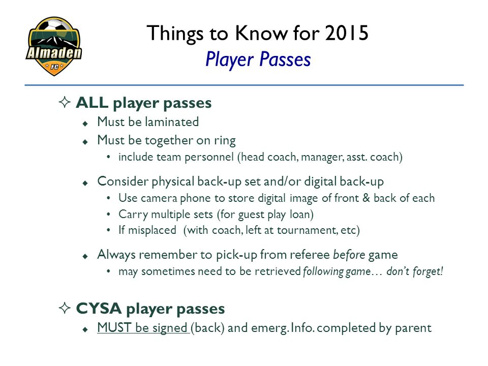 Things to Know for 2015 Player Passes