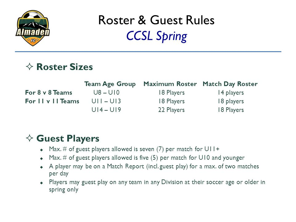 Roster & Guest Rules CCSL Spring