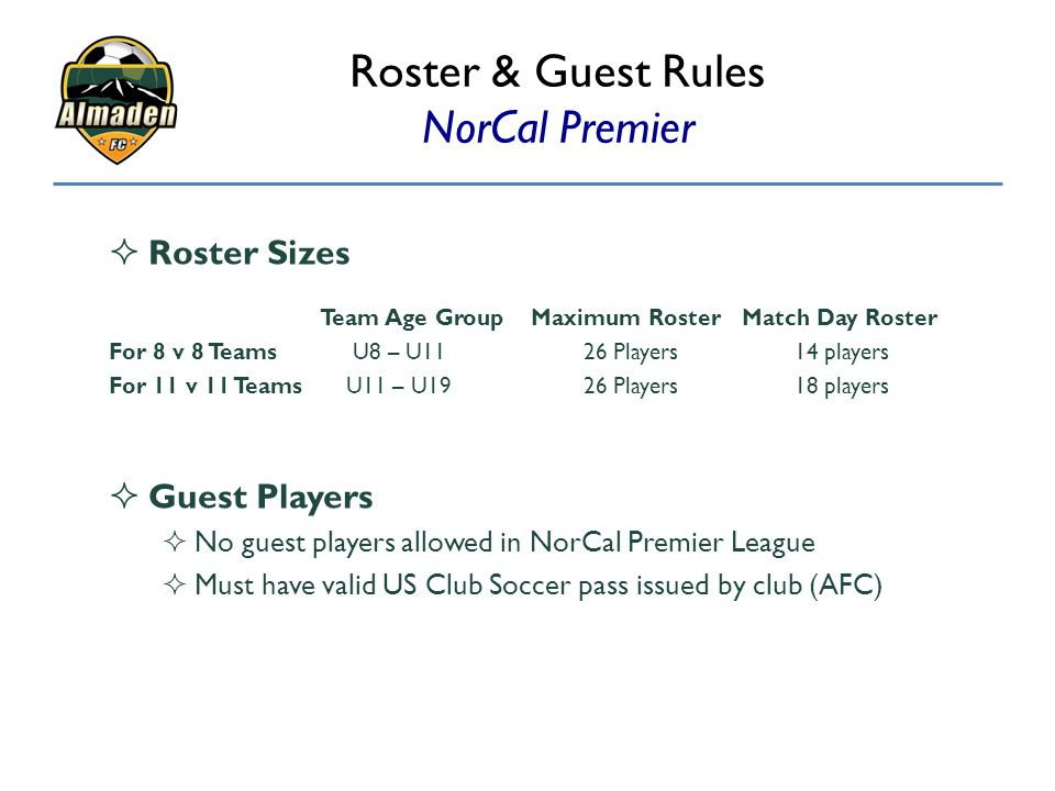 Roster & Guest Rules NorCal Premier