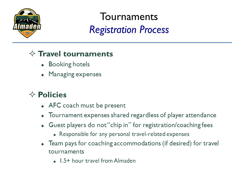 Tournaments Registration Process
