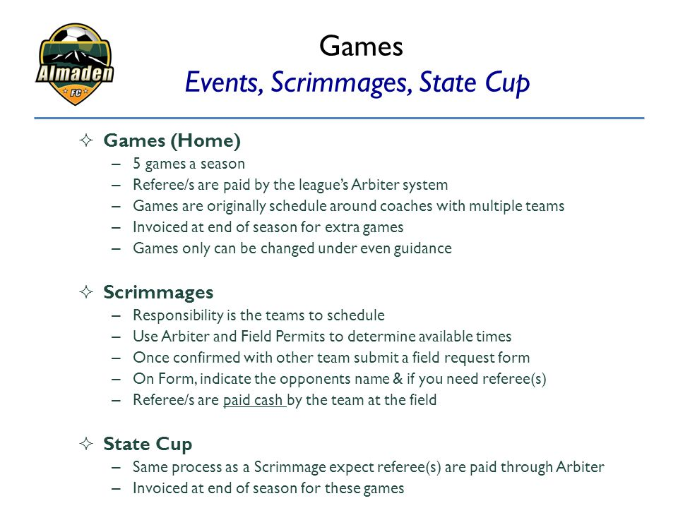 Games Events, Scrimmages, State Cup