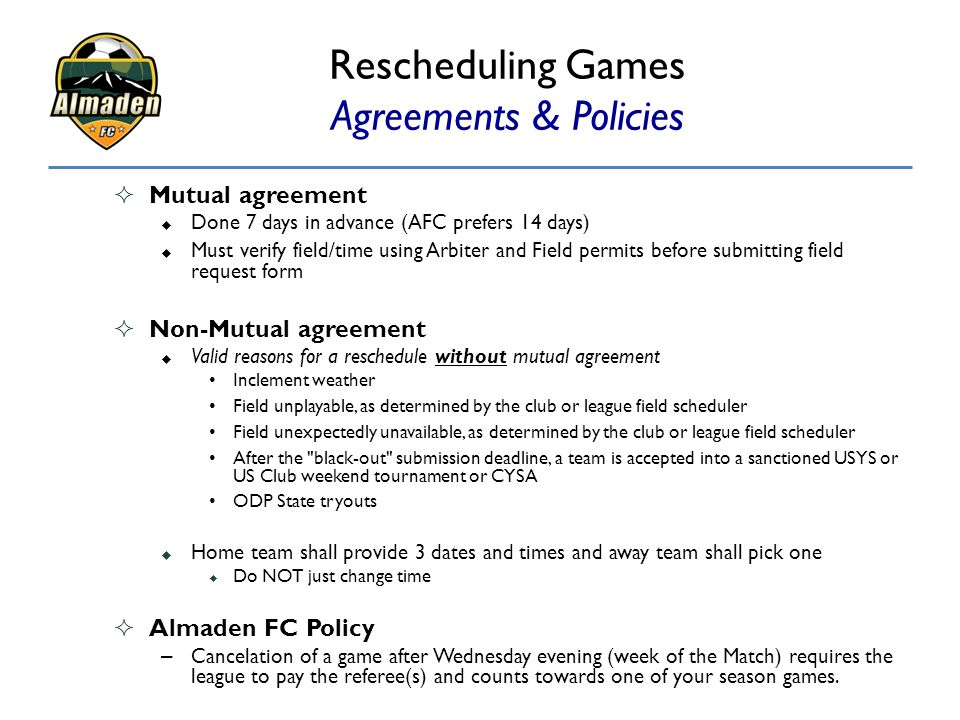 Rescheduling Games Agreements & Policies