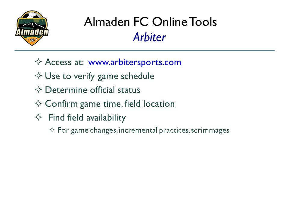 Almaden FC Online Tools Arbiter
