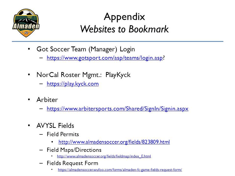Appendix Websites to Bookmark