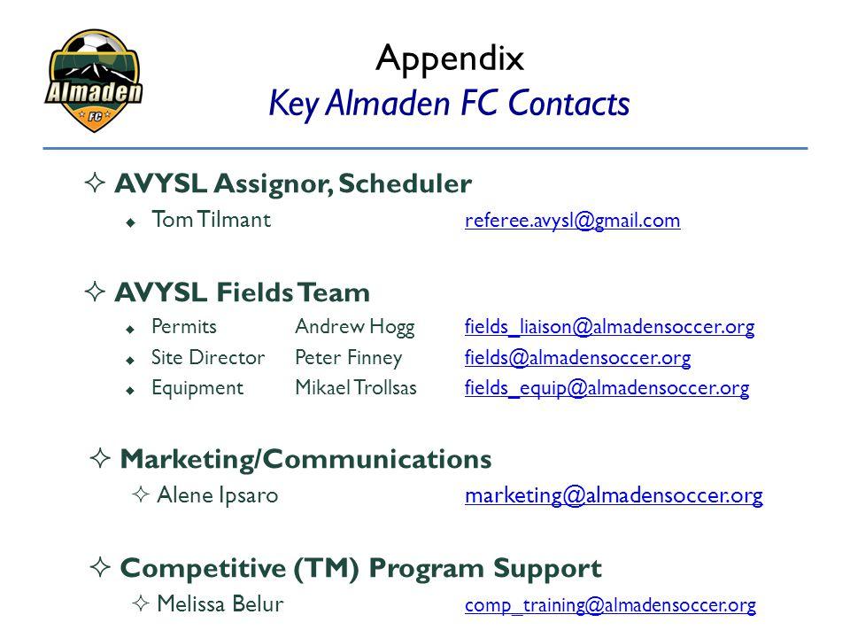 Appendix Key Almaden FC Contacts