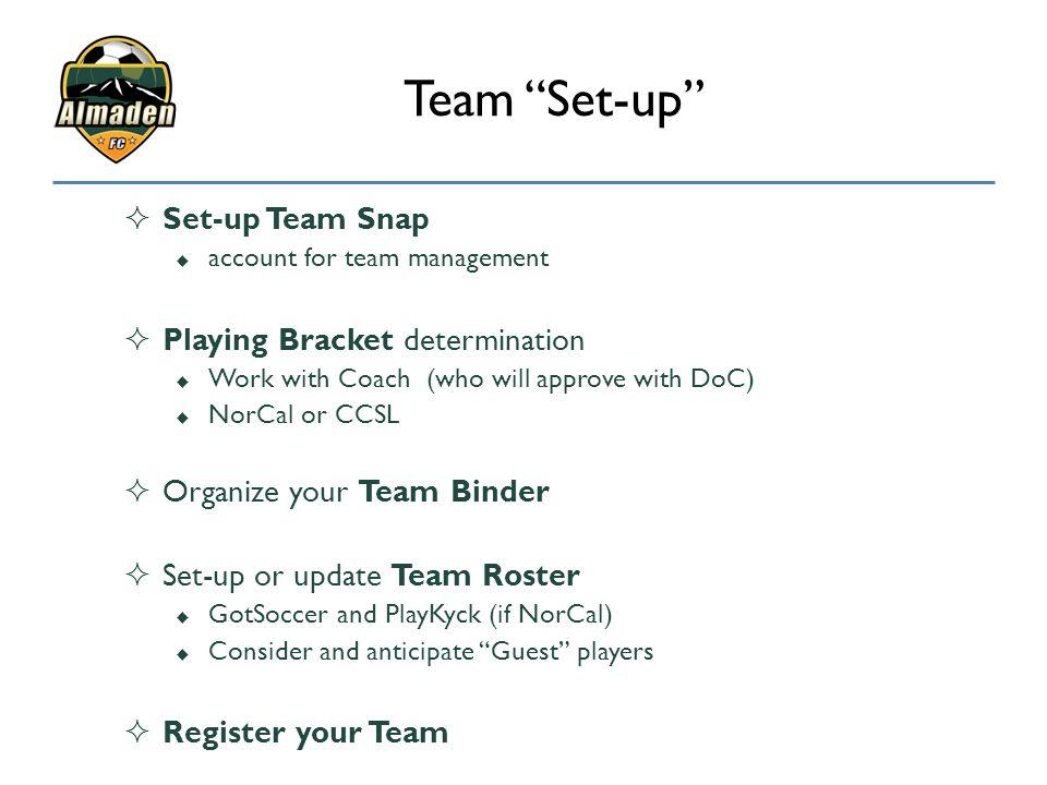 Team Set-up Set-up Team Snap Playing Bracket determination