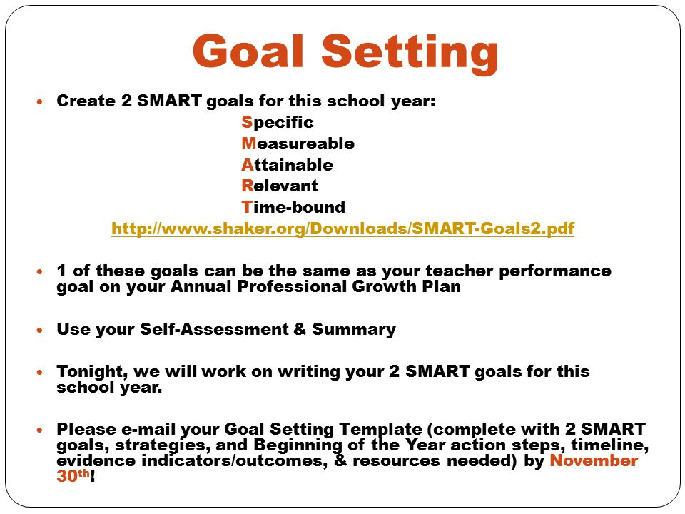 Goal Setting Create 2 SMART goals for this school year: Specific