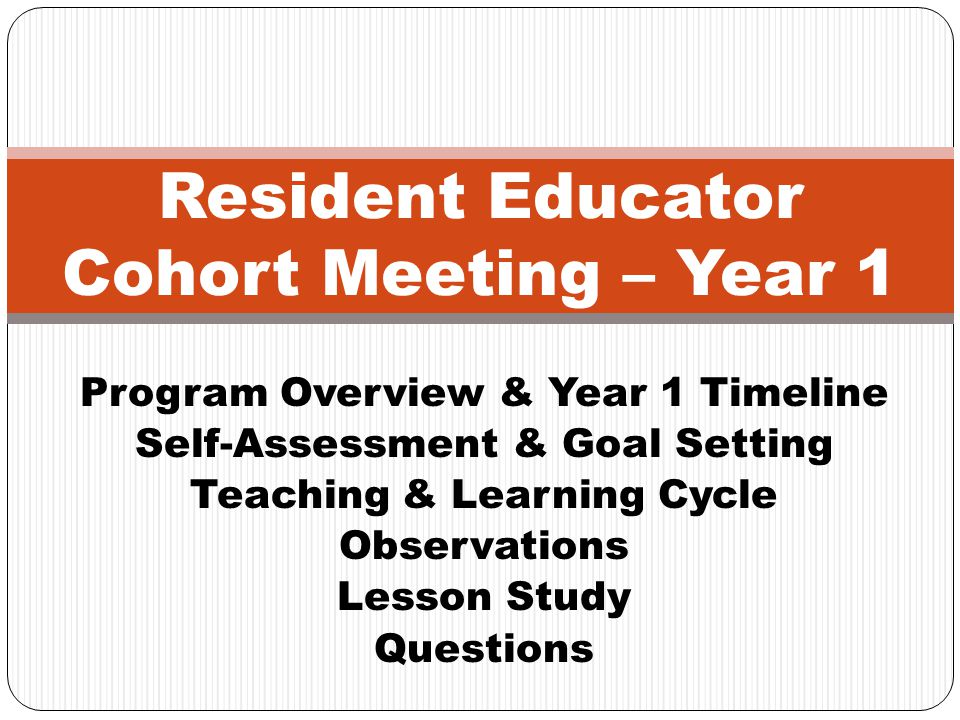 Resident Educator Cohort Meeting – Year 1
