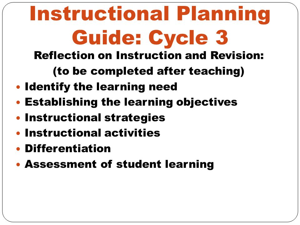 Instructional Planning Guide: Cycle 3
