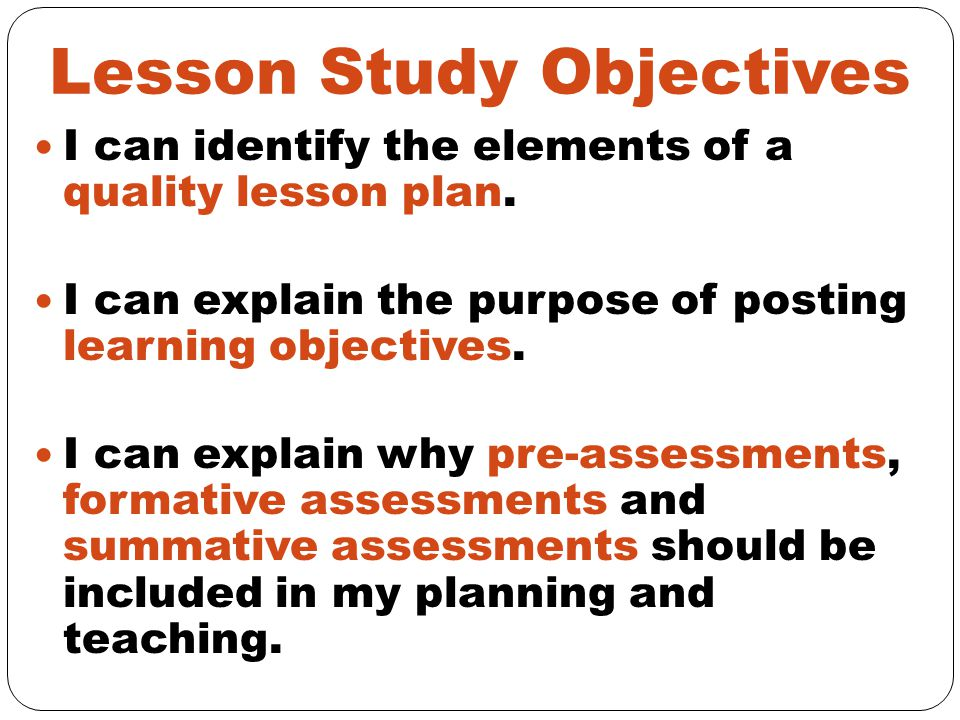 Lesson Study Objectives
