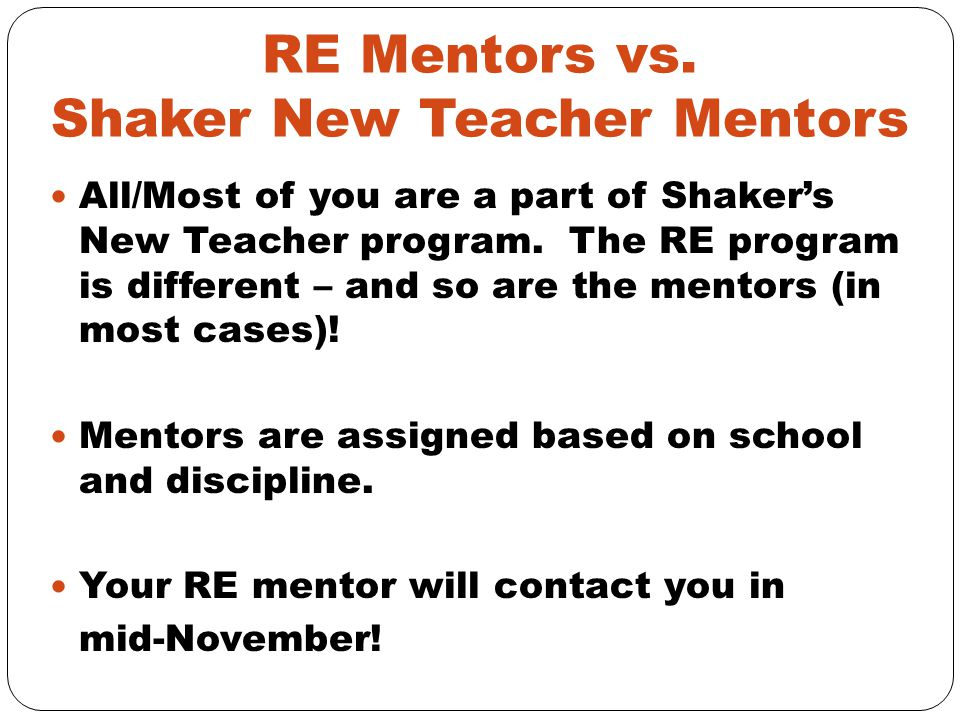 RE Mentors vs. Shaker New Teacher Mentors